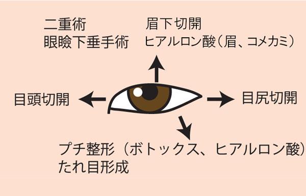 目を大きくさせるための方向別の施術