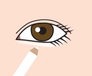 白い目の下のアイシャドウ