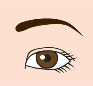 目頭への字のライン