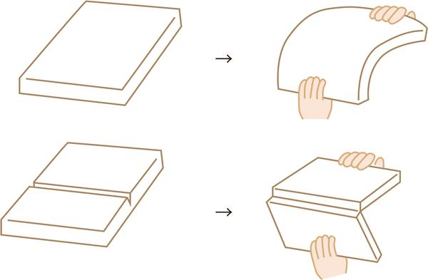厚み取りはダンボールに切れ目を入れ折れやすくするような施術